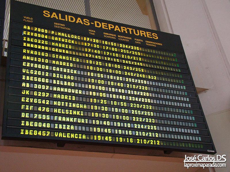 Panel Informativo de Vuelos Aeropuerto de Málaga AGP