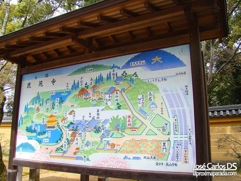 Mapa Kinkaku-ji Templo del Pabellón Dorado Kyoto