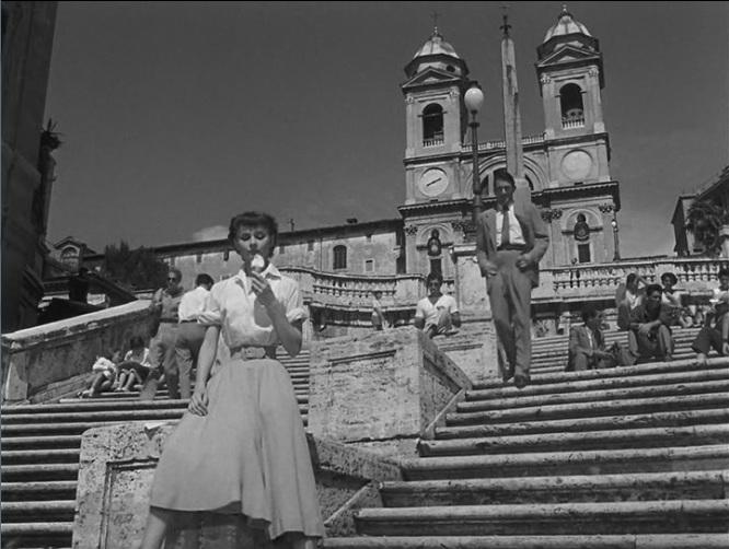 Vacaciones en Roma (1953) - Audrey Hepburn en Plaza de España