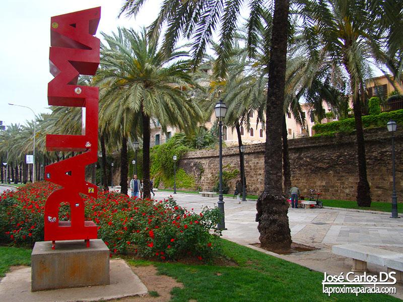 Letrero Palma en Paseo Sagrera Mallorca