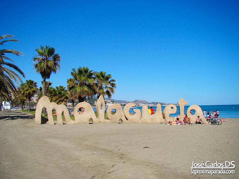 Letras Playa de la Malagueta Málaga