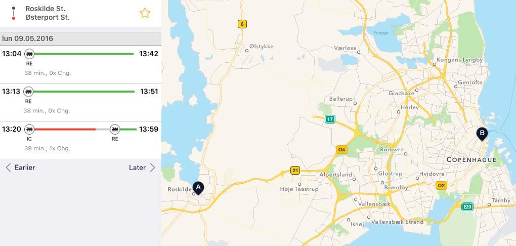 Ruta Roskilde a Kastellet con Rejseplanen
