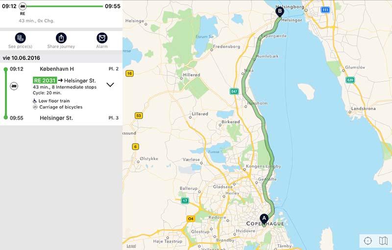 Ruta Copenhague a Elsinor con Rejseplanen