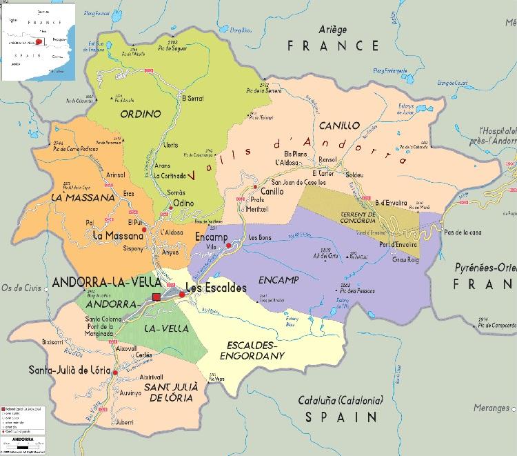 Mapa parroquias de Andorra